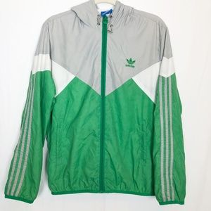 Vintage Adidas Windbreaker Size XL Green Silver